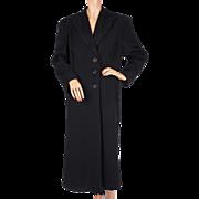 Vintage 1930s Black Wool Coat with Soutache Trim Ladies Size L