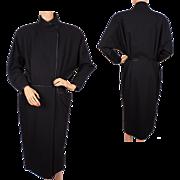 Vintage 80s Janice Wainwright Black Wool Designer Dress Size M 10