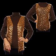 Vintage 60s Paco Rabanne Gold Mylar Disc Chain Mail Vest Size S / M
