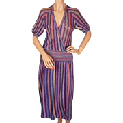 Vintage 1970s Missoni For Bloomingdales Knit Linen Dress Ladies Size S Small