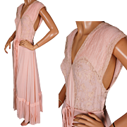Vintage Nightgown 1930s Pink Silk Chiffon Georgette Nightie Size S / M