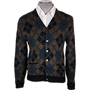 Vintage 60s Mens Wool & Mohair Cardigan Sweater Argyle Pattern Size M