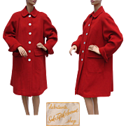 Vintage Saks Fifth Avenue Red Wool Coat 1950s Debutante Shop Ladies Size M / L