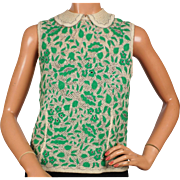 SALE PENDING Vintage Shell Sweater Green & Silver Embroidered Knit Top 1960s Ladies Size S M