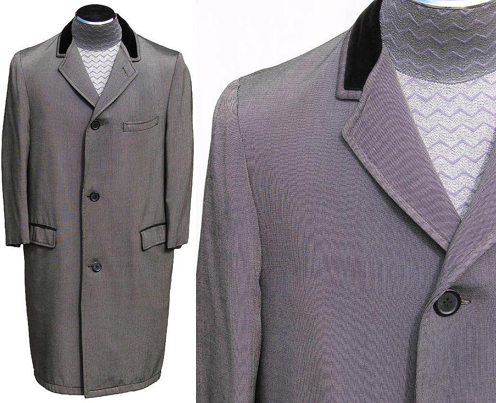 Vintage 1960s Mens Silver Sharkskin Coat British Invasion
