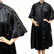 Vintage 1950s Black Silk & Faille Evening Coat