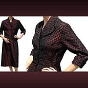 Vintage 1950s Suit Maroon Taffeta with Black Ribbon Work