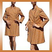 Vintage 1960s Mod Orange Wool Plaid Coat Brioni Couture
