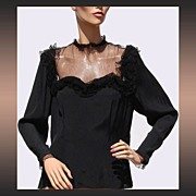 Vintage 1940s Black Rayon & Tulle Blouse Sweetheart Neckline
