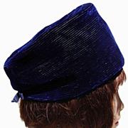 Vintage 60s Pierre Balmain Reproduction Royal Blue Velvet Pilbox Hat