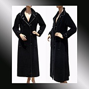Vintage 70s Givenchy Nouvelle Boutique Black Velour Maxi Coat