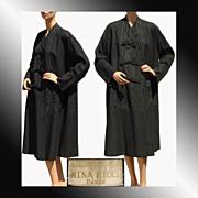 Vintage 1950s Nina Ricci Black Wool & Moire Faille Silk Coat