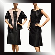 Vintage 1960s Black and Taupe Silk Twill Dress w Jacket - Lillian Farrar Montreal Designer
