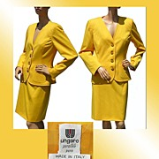 Vintage 1980s Ungaro Parallele Paris Yellow Ladies' Suit Size 12