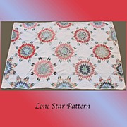Vintage 1930s Quilt Hand Sewn Lone Star Pattern