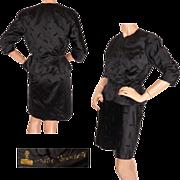 Vintage 1950s Hattie Carnegie Suit //  Black Silk 2 Piece Ensemble Size S / M