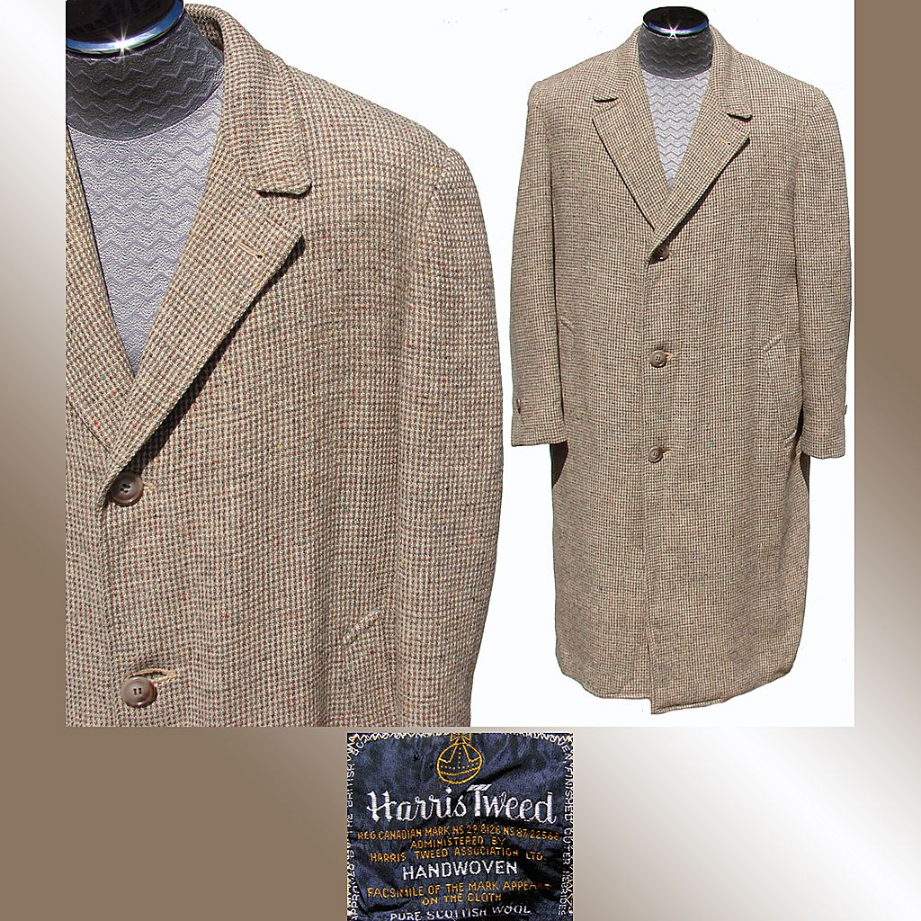 Vintage 1950s Harris Tweed Men's Coat Overcoat Size 44 from
