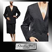 Vintage 1980s Christian Dior Suit Black Cotton Medium