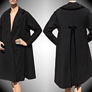 Vintage 1950s Wool Coat Black with Sparkle Fleck Medium