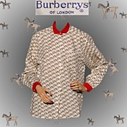 Vintage 1990s Burberrys Blouse Cotton Print Horse & Rider Small