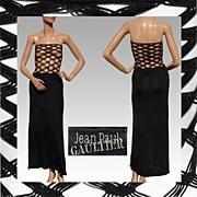 Vintage 1990s Jean Paul Gaultier Dress // Black Large Fish Net
