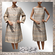 Vintage 1960s Mod Dress & Coat Clive Evans British Designer  Large