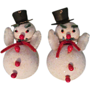 2 Occupied Japan Snowmen Tree Ornament