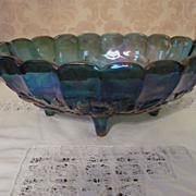 Indiana Harvest, Blue Carnival Large Footed Fruit Bowl