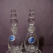 SALE PENDING Imperial Candlewick Oil Vinegar Cruets with Tray, Labels