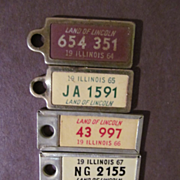 1964-68 Car License Plates, Key Chain Tags