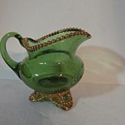 1900 Souvenir EAPG Green Colorado, U S Glass Creamer