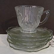 SOLD Iris & Herringbone Cup & Saucer + 4 Saucers