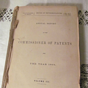 1869 Annual Commissioner Patent Report, Illustrated