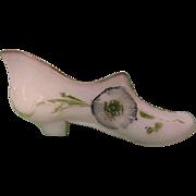 SOLD Victorian Milk Glass, Opaque Low Heel Shoe with Florals, Hand Painted