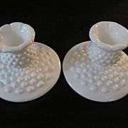Fenton Hobnail Milk Glass Candle Holders