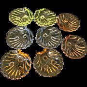 8 Cambridge Caprice Shell Ashtrays, Nut Dishes, Blue, Yellow, Amber, Pink