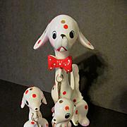 Polka Dot Mama Dog & Pups on Chains, Japan
