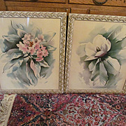 2 Large Newman Decor Inc Genuine Air Brushed Water Color Pictures, Signed Sue