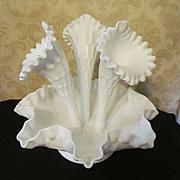 "Fenton Olde Virginia, Thumbprint Milk Glass 10"" Epergne"