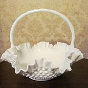 "Fenton 12"" Milk Glass Hobnail Basket"
