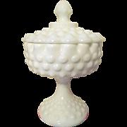 Fenton Hobnail Milk Glass Covered Candy Jar Dish #3885
