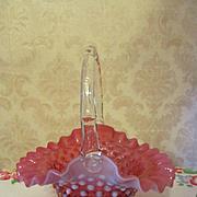 "Fenton Cranberry Hobnail Opalescent 8"" Basket"