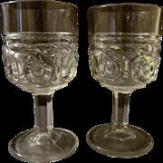 "SOLD EAPG Halley's Comet aka Etruria 4"" Flint Goblets by Model Glass Company"