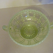 Imperial Vaseline Opalescent Beaded Block Handled Jelly Bowl