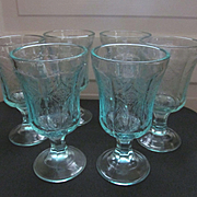 SOLD Madrid Recollections Teal Footed Water Goblets by Indiana Glass Company