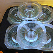 6 Madrid Recollections Teal Bowls by Indiana Glass Company