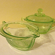 Hocking Princess Green Depression Creamer & Sugar with Lid