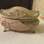 Art Nouveau Metal Vanity Box with Lining