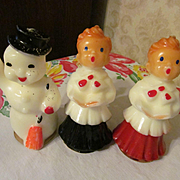 "SOLD Gurley 5"" Christmas Carolers and Snowman Candles"