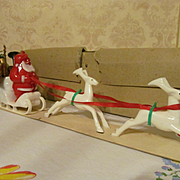 SOLD Mid Century Retro Santa with Sleigh & Reindeer with Box